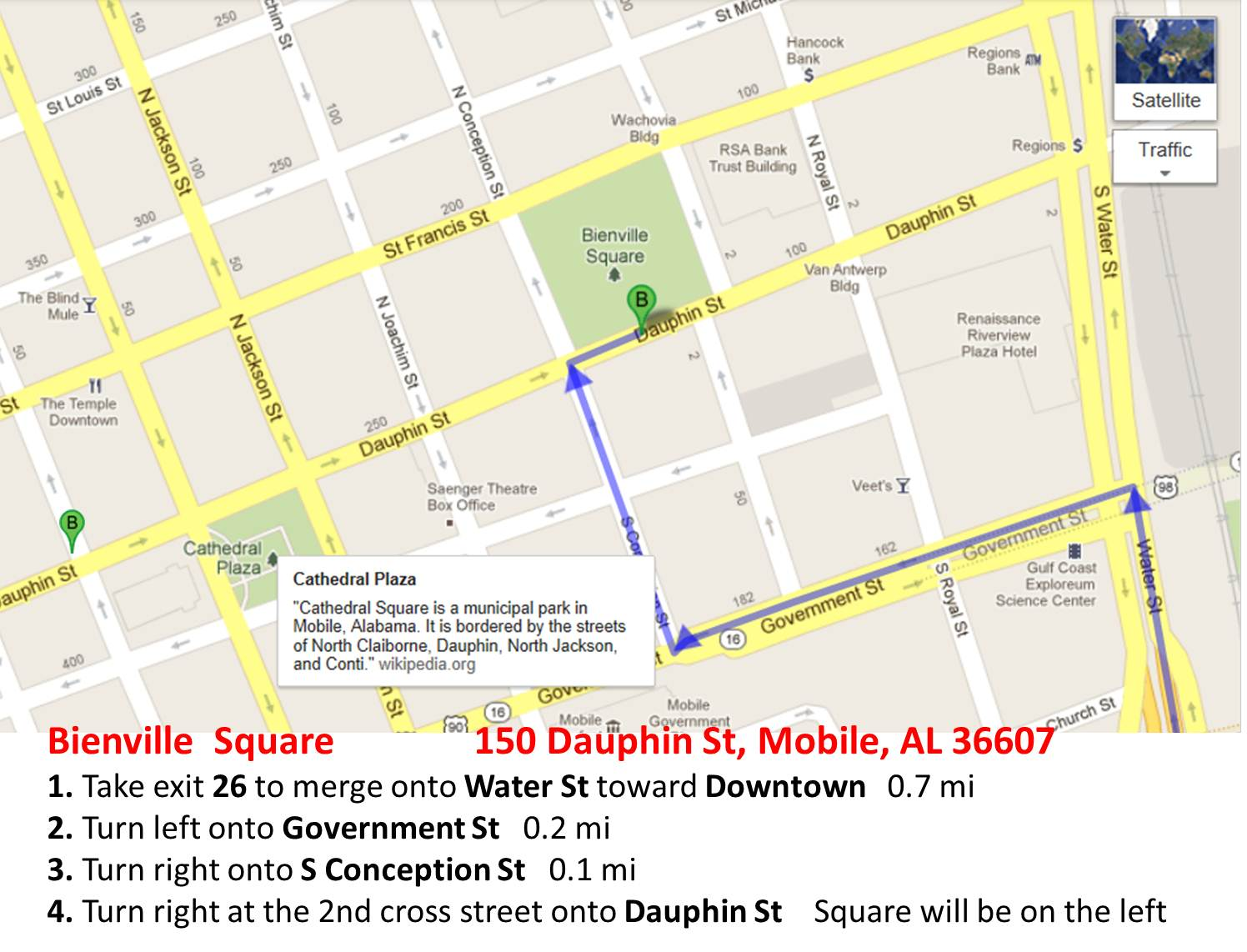 Bienville Square from I-10-Map