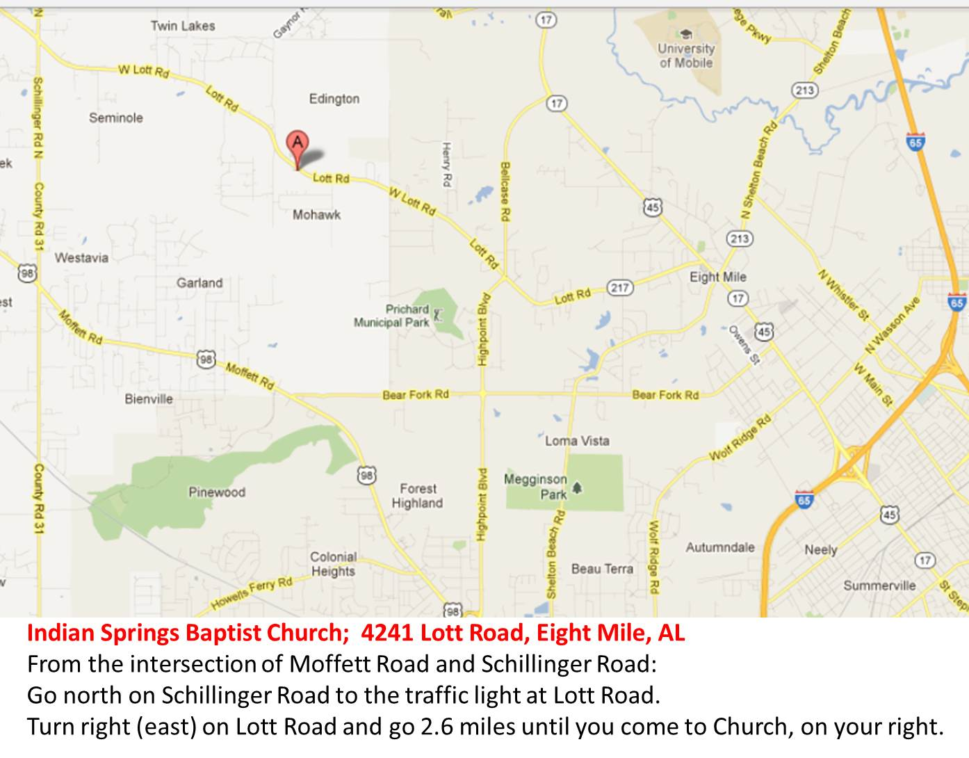 Indian Springs Baptist Church Map